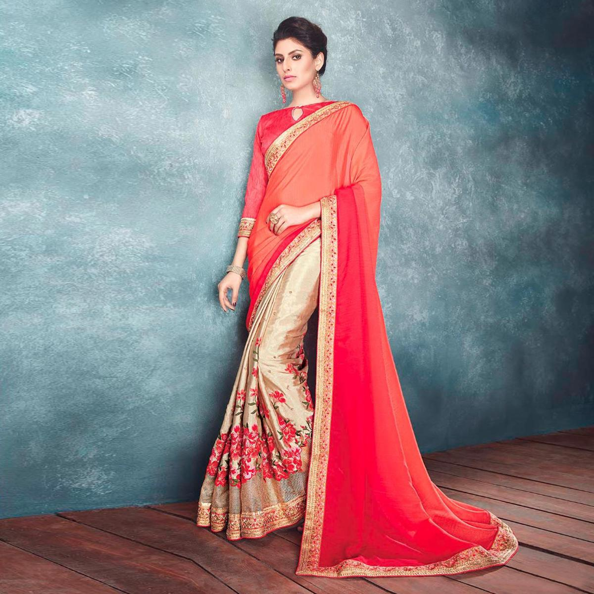 Sensational Red And Golden Chiffon Designer Partywear Saree