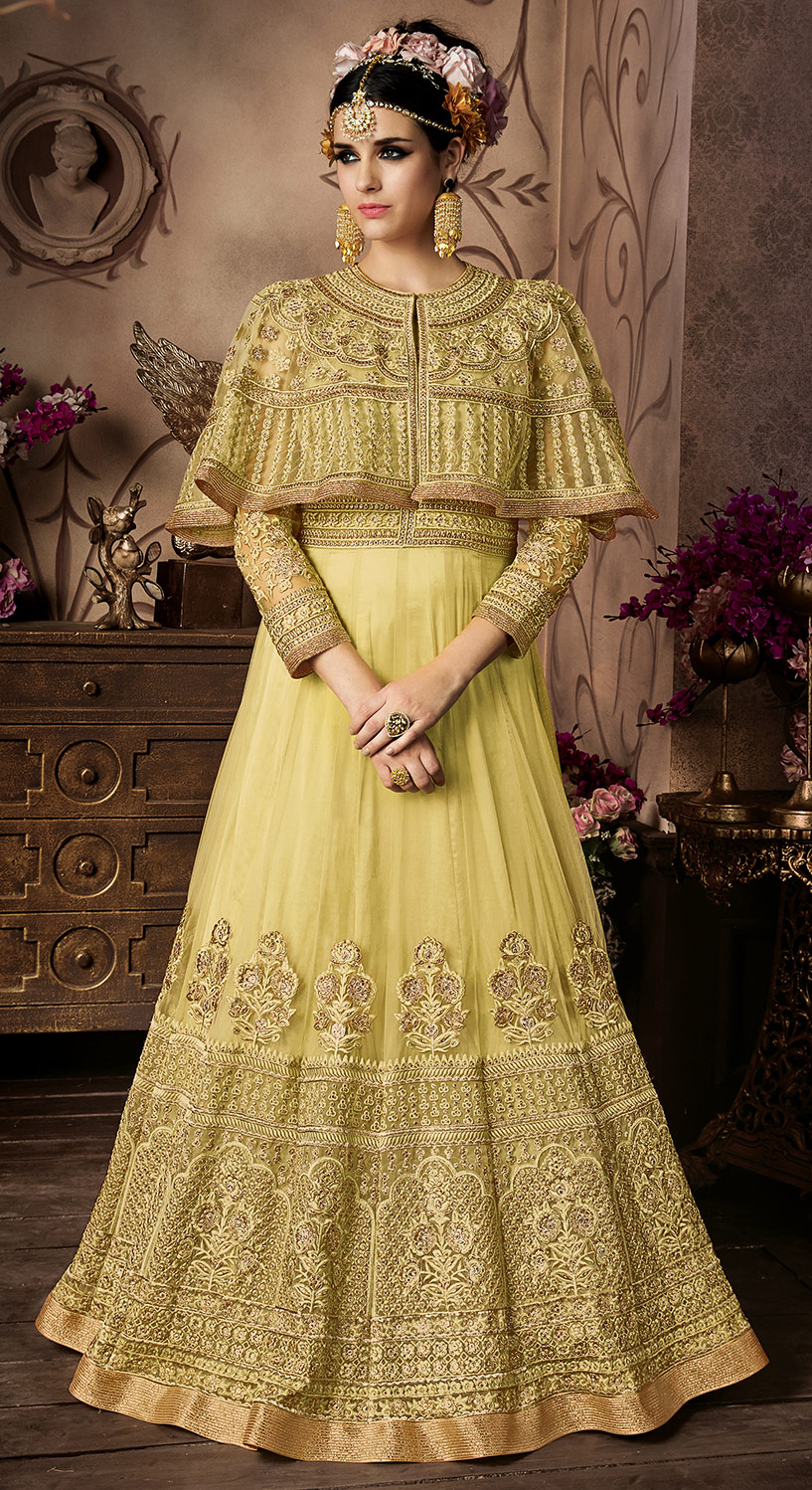 Elegant Lime Green Net Floor Length Designer Suit
