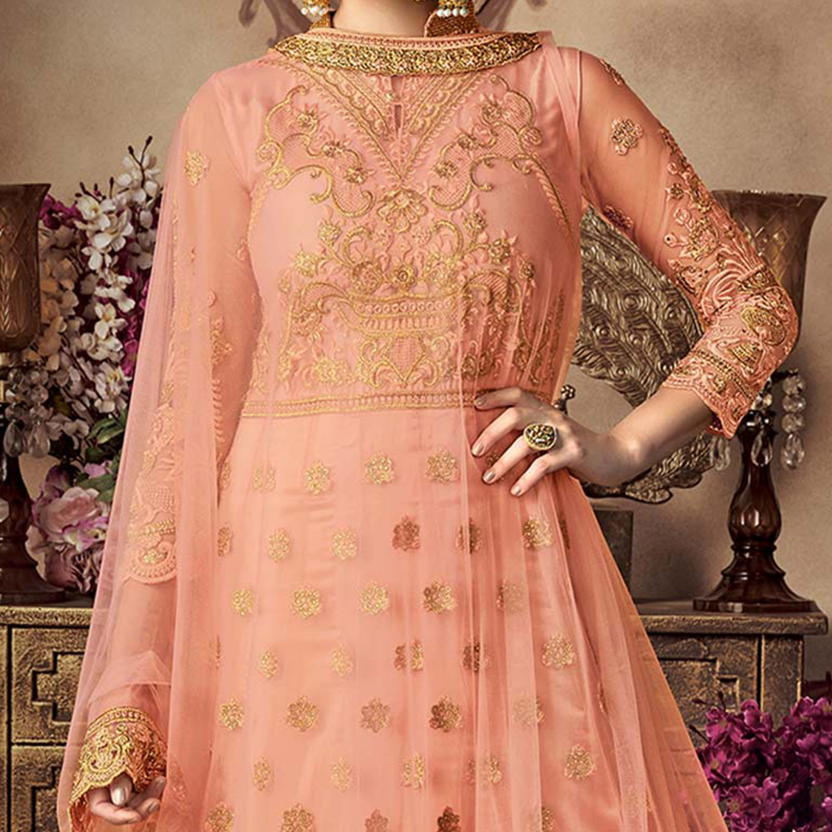 Marvellous Peach Net Floor Length Designer Suit