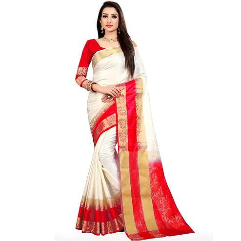 Classy White-Red Colored Festive Wear Woven Nylon Saree