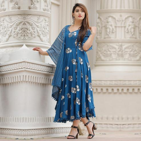 TrendMe Blue Colored Designer Block Printed Rayon Kurti With Stole
