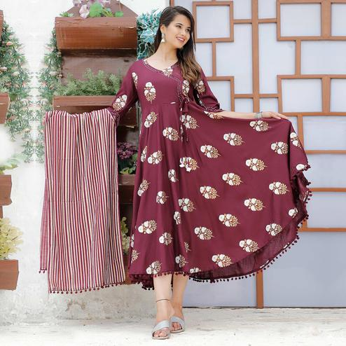 TrendMe Wine Red Colored Designer Block Printed Rayon Kurti With Stole