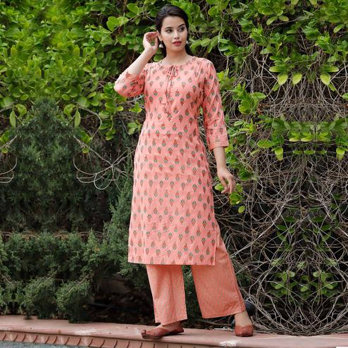 TrendMe Peach Colored Block Printed Rayon Kurti-Palazzo Set