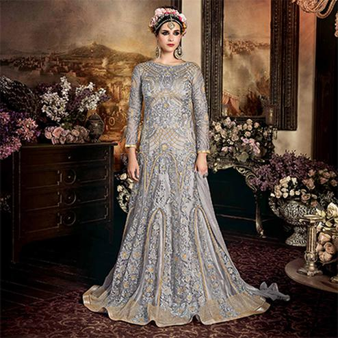 Beautiful Grey Net Floor Length Designer Suit
