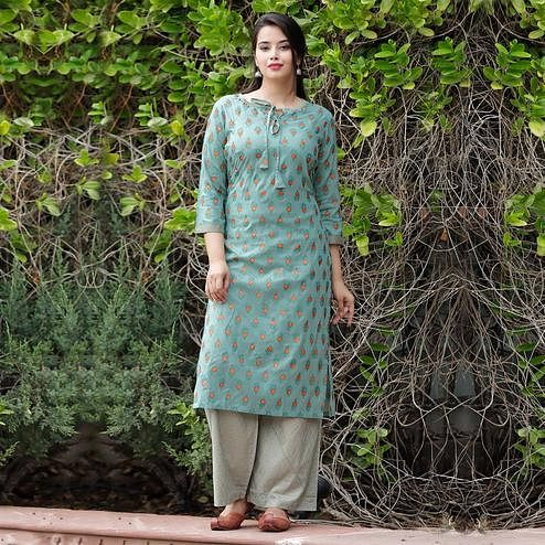 TrendMe Green Colored Block Printed Rayon Kurti-Palazzo Set