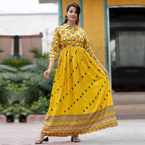 TrendMe Yellow Colored Floral Printed Casual Wear Rayon Long Kurti