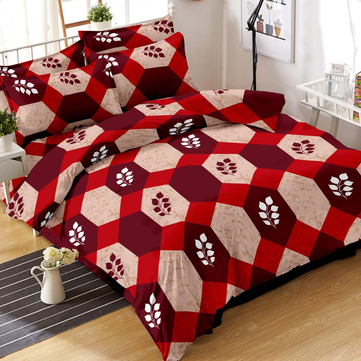 Delightful Red-Beige Colored Geometric Printed Cotton Double Bedsheet With Pillow Cover