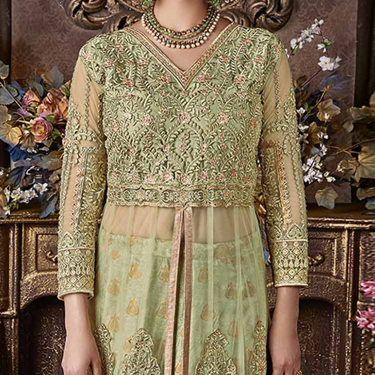 Stunning Green Net And Banarsi Brocade Silk Designer Floor Length Suit