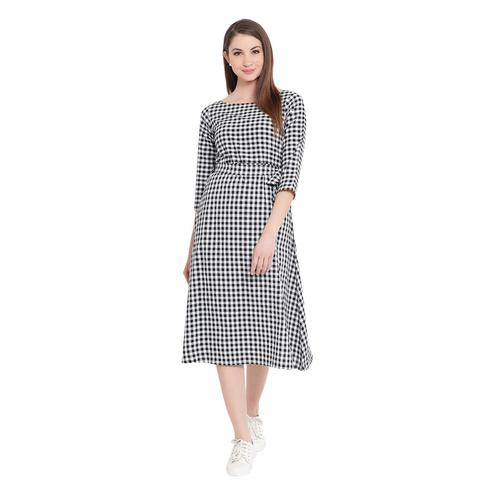 Fabnest - White-Black Colored Casual Wear Checked Printed Cotton Dress