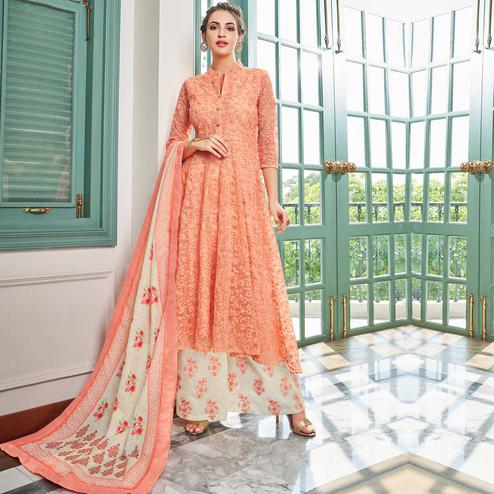 Appealing Peach Colored Party Wear Embroidered Cotton Palazzo Suit