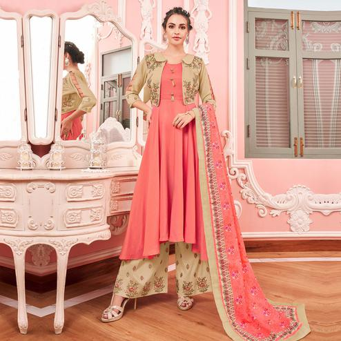 Exclusive Pink Colored Party Wear Embroidered Cotton Palazzo Suit With Jacket
