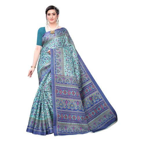 Arresting Blue Colored Casual Wear Printed Cotton Saree