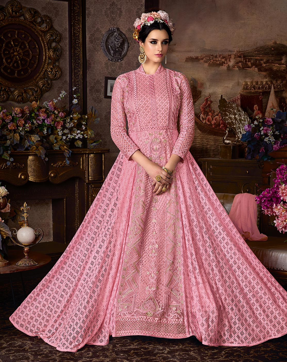 Gorgeous Pink Net Floor Length Designer Suit