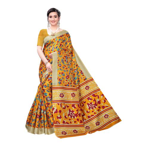 Exotic Mustard Yellow Colored Casual Wear Printed Cotton Saree