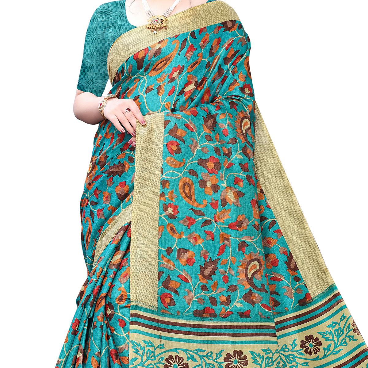 Trendy Blue Colored Casual Wear Printed Cotton Saree
