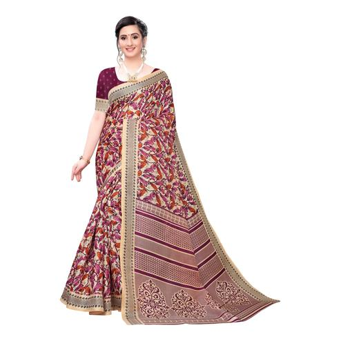 Elegant Beige-Purple Colored Casual Wear Printed Cotton Saree