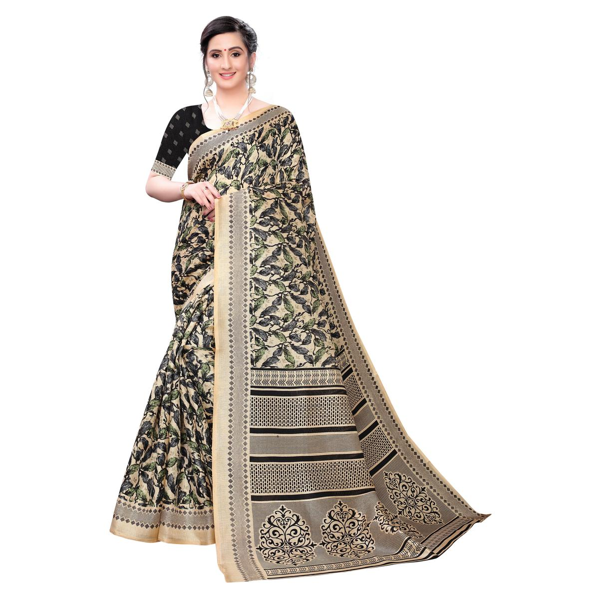 Radiant Black Colored Casual Wear Printed Cotton Saree