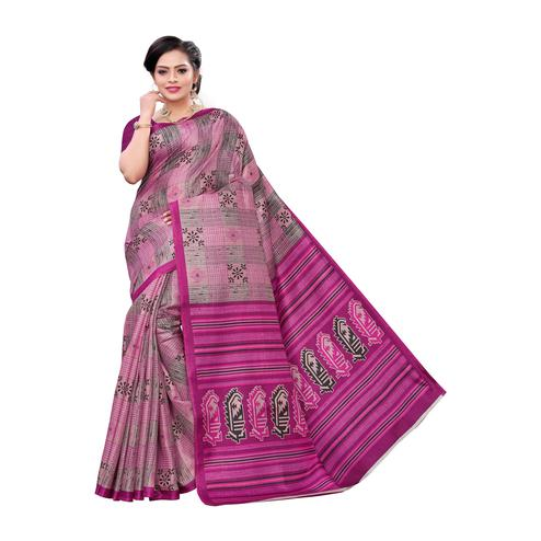 Pleasant Pink Colored Casual Wear Printed Cotton Saree