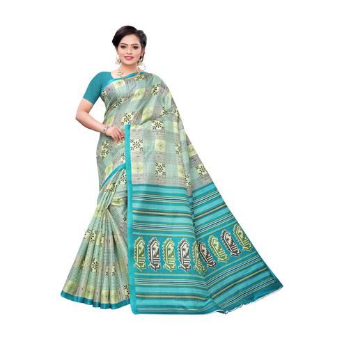 Opulent Aqua Blue Colored Casual Wear Printed Cotton Saree