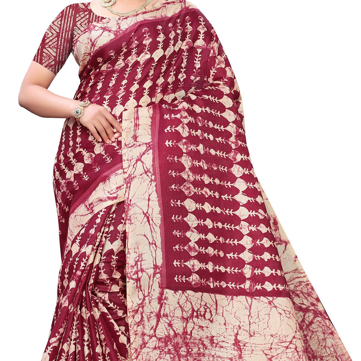 Energetic Maroon Colored Casual Wear Printed Cotton Saree