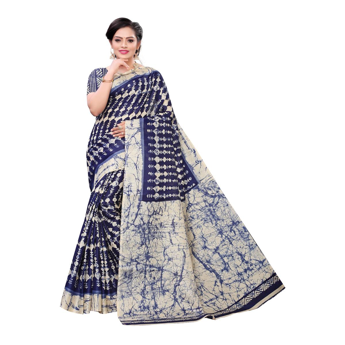 Glowing Navy Blue Colored Casual Wear Printed Cotton Saree