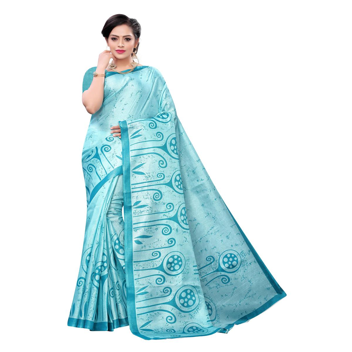 Exceptional Blue Colored Casual Wear Printed Cotton Saree