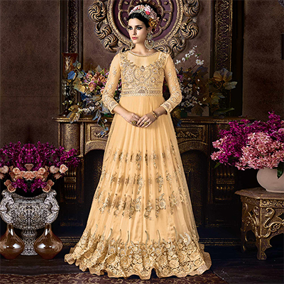 Stylish Yellow Net Floor Length Designer Suit