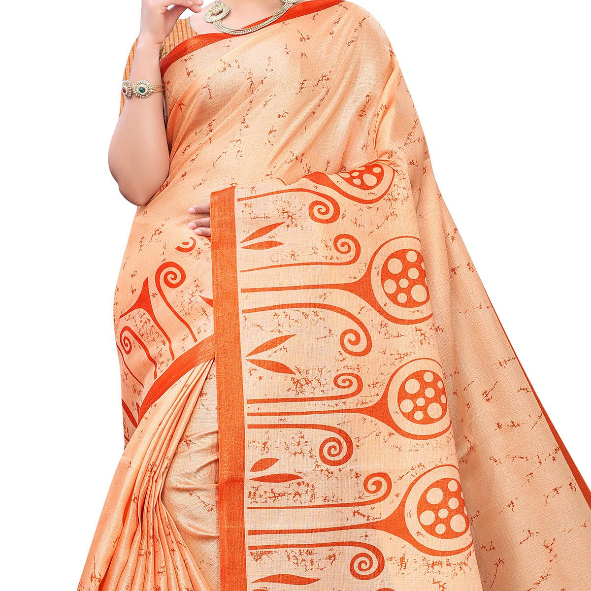 Mesmeric Peach Colored Casual Wear Printed Cotton Saree