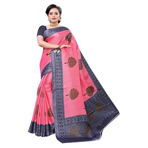Unique Pink Colored Casual Wear Printed Cotton Saree