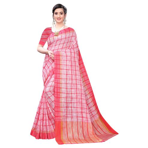 Graceful Pink Colored Festive Wear Stripe Printed Linen Saree