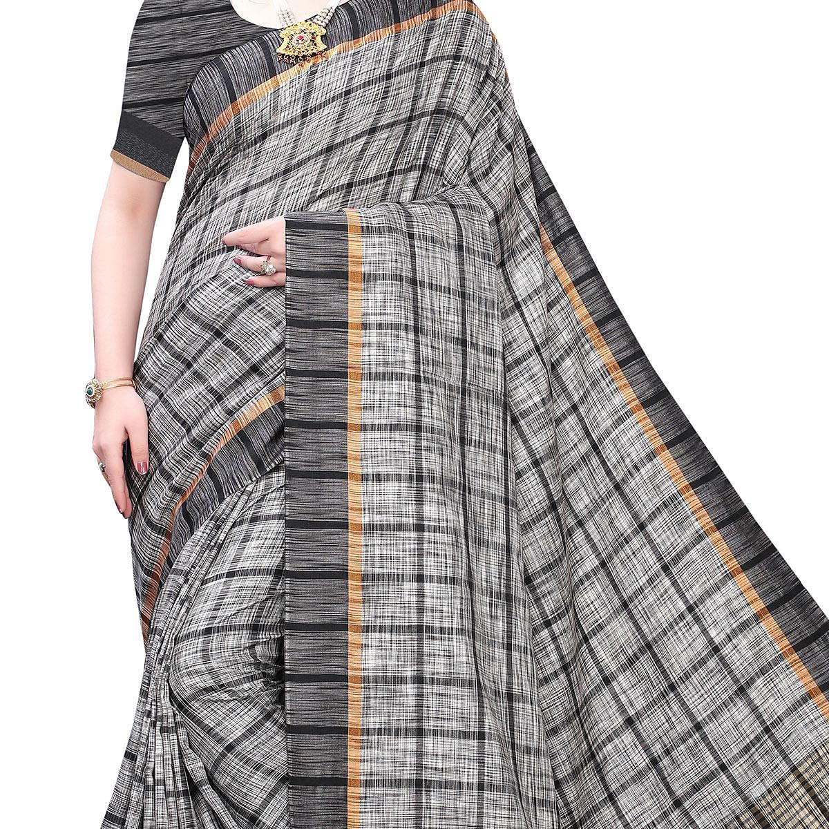 Blooming Grey Colored Festive Wear Stripe Printed Linen Saree