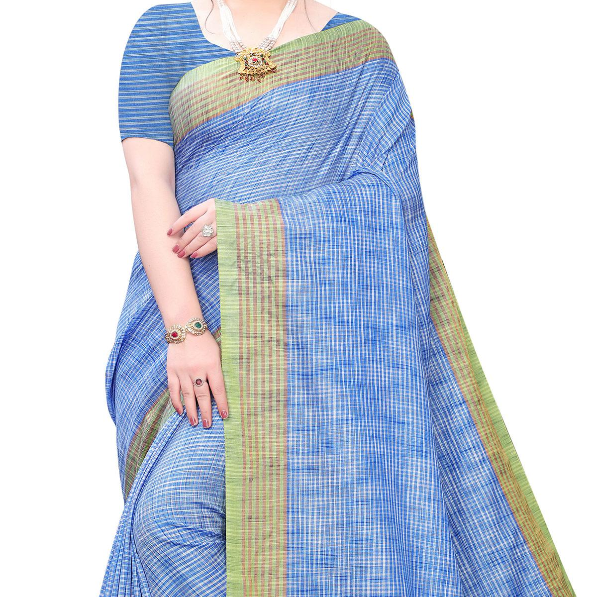 Charming Blue Colored Festive Wear Stripe Printed Linen Saree