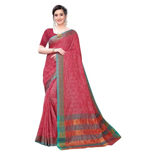 Jazzy Red Colored Festive Wear Stripe Printed Linen Saree