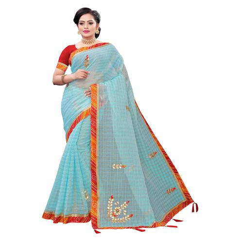 Groovy Sky Blue Colored Party Wear Embroidered Checks Tissue Saree With Tassels