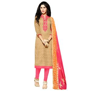 Tan - Pink Embroidered Work Straight Cut Suit