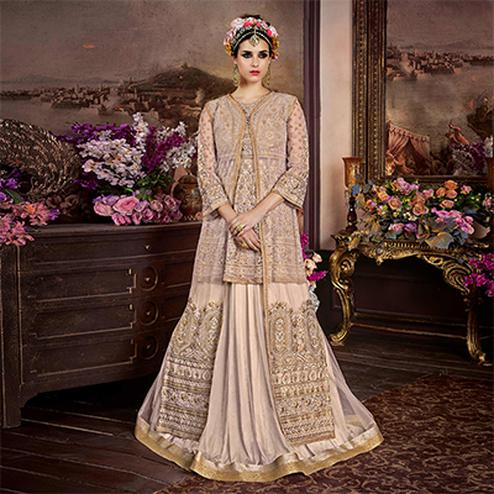 Vivacious Beige Net And Banarsi Brocade Silk Designer Floor Length Suit