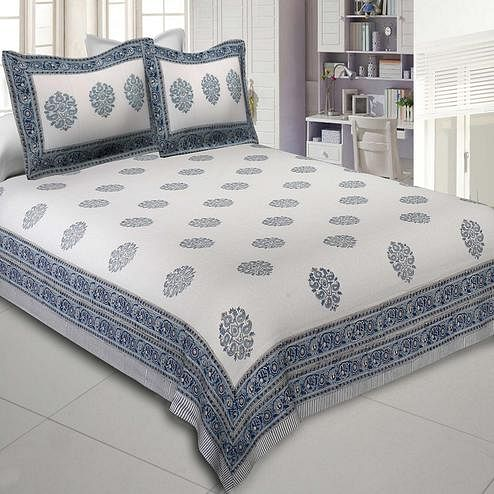 Adorable Cream-Blue Colored Supple Waves Hand Block Print Cotton Double Bedsheet With Pillow Cover