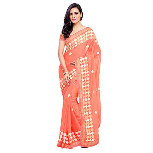 Stylish Orange Chiffon Saree