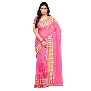 Stylish Pink Chiffon Saree