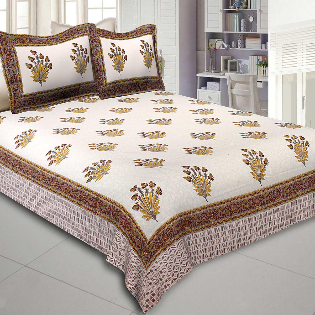 Amazing Cream Colored Feathers of Fortune Hand Block Print Cotton Double Bedsheet With Pillow Cover