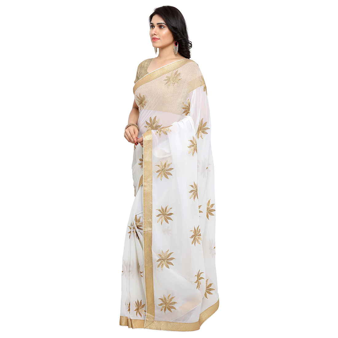 Classy Off-White Georgette Embroidered Saree