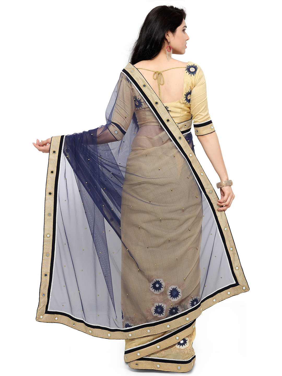 Beautiful Blue And Beige Net And Georgette Embroidered Saree