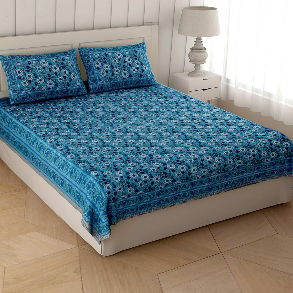 Elegant Blue Colored Majestic Motif Cotton Double Bedsheet With Pillow Cover
