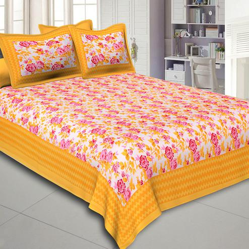 Exceptional Yellow Colored Floral Print Cotton Double Bed Sheet