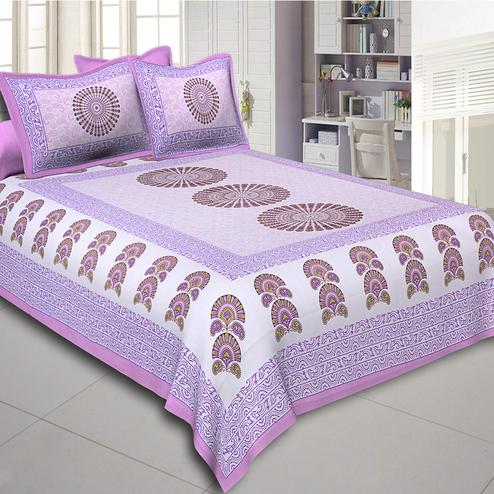 Gleaming Purple Colored Sanganeri Printed Cotton Double Bed Sheet