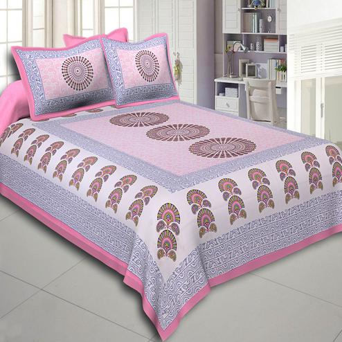 Mesmeric Pink Colored Sanganeri Printed Cotton Double Bed Sheet