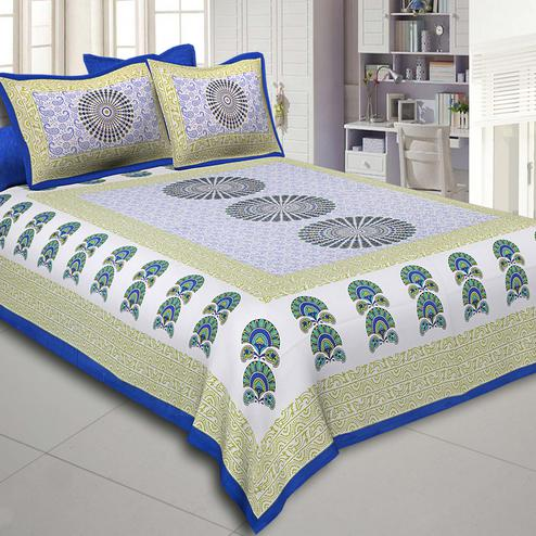 Unique Green Colored Sanganeri Printed Cotton Double Bed Sheet