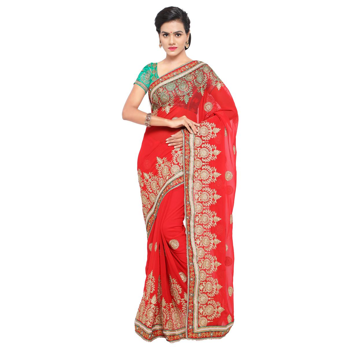 Elegant Red Embroidered Saree