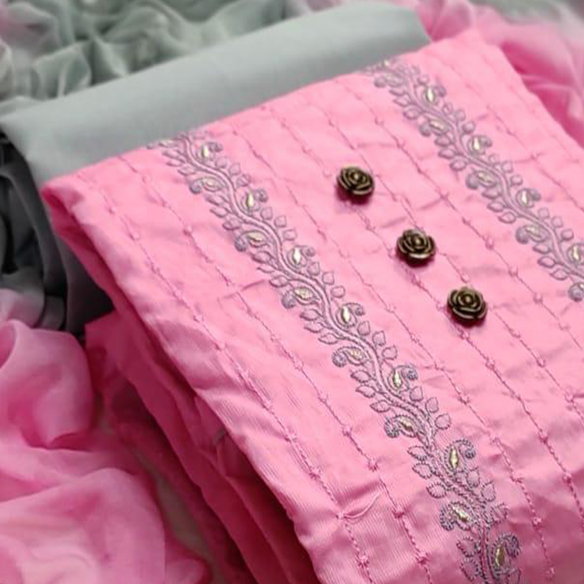 Desirable Pink Colored Party Wear Embroidered Cotton Dress Material