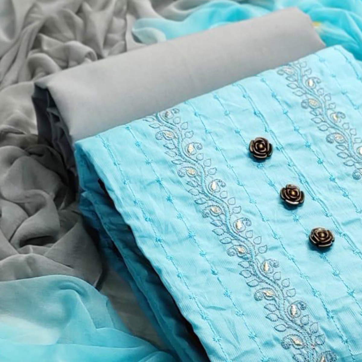 Exotic Blue Colored Party Wear Embroidered Cotton Dress Material
